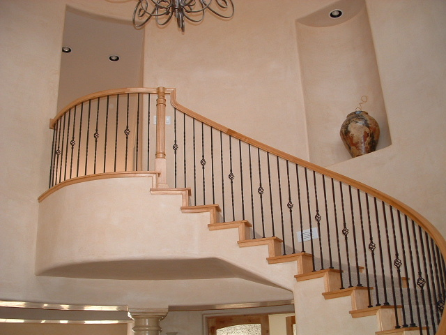 This Stair Features Over The Post Rail Installation With False Tread And  Riser End Caps. Simple Yet Elegant Individual Twist Series Iron Balusters  With Base ...