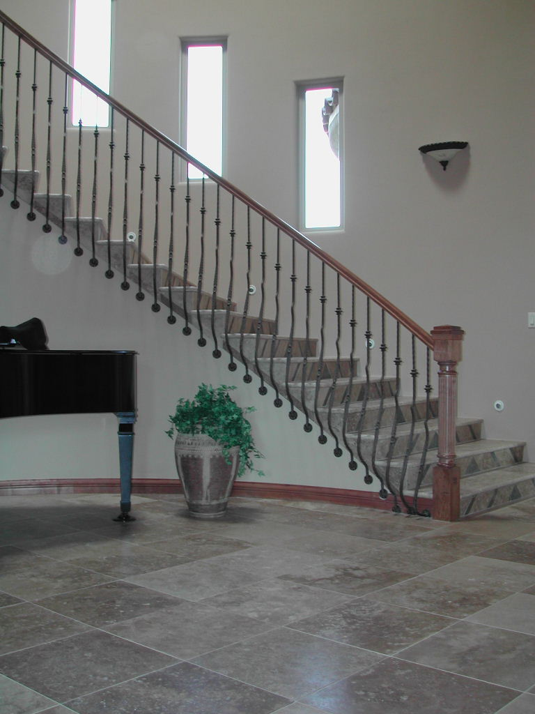 This Balustrade Features Custom Fascia Mounted Belly Balusters And Custom  Turned And Fluted Newel Post.
