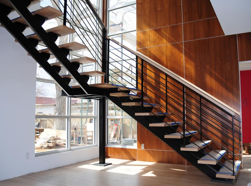 Beau This Stairway Features Maple Treads And Open Risers With Dual Steel  Stringer The Sleek, Contemporary Steel Guardrails Feature Horizontal  Railing Design ...