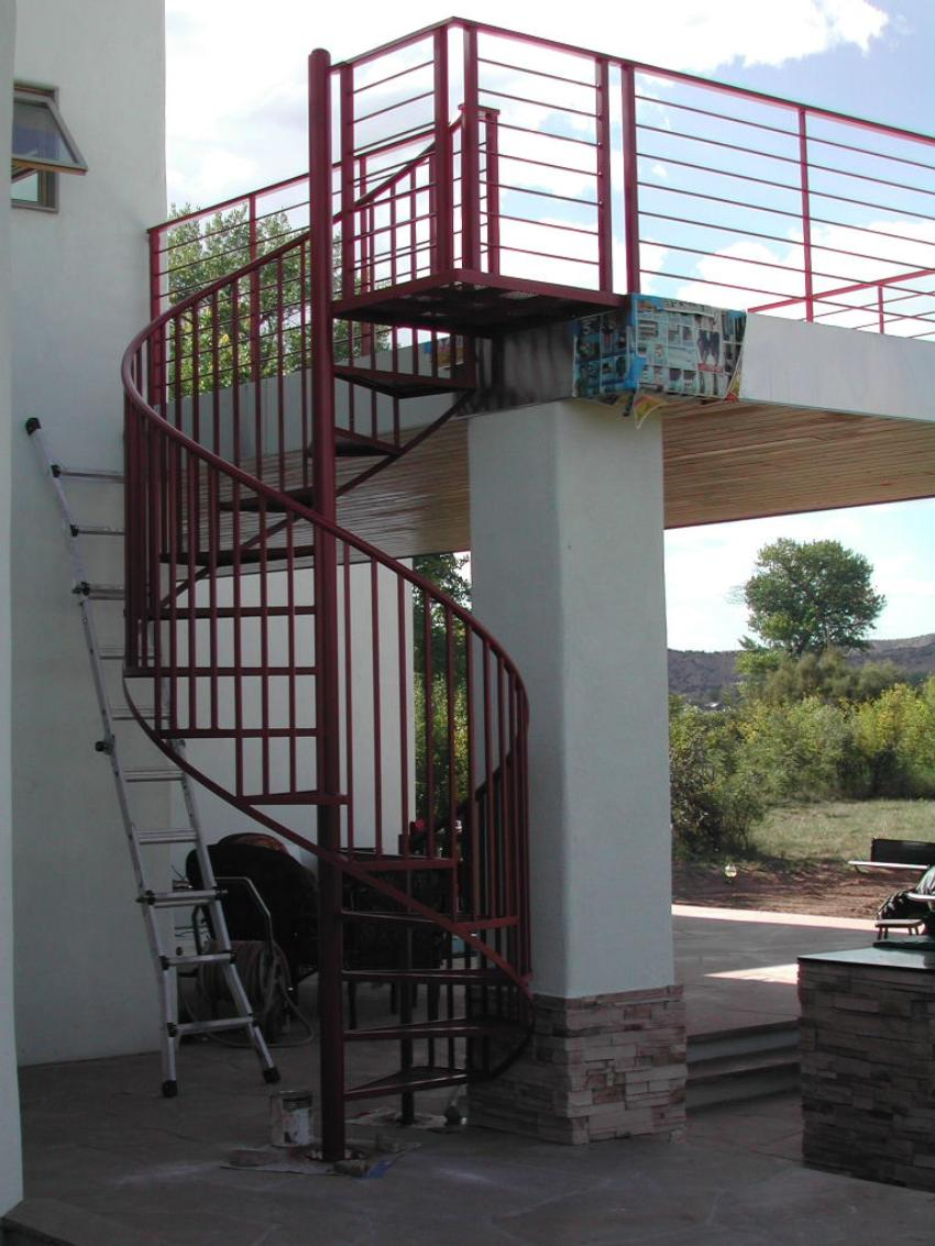 Exterior Spiral Stair With Intermediate Landing Guardrails Featuring